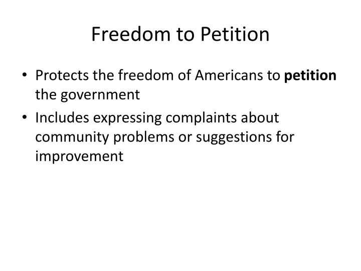 Freedom to Petition