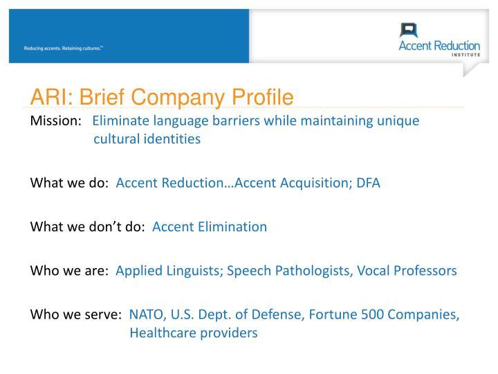ARI: Brief Company Profile