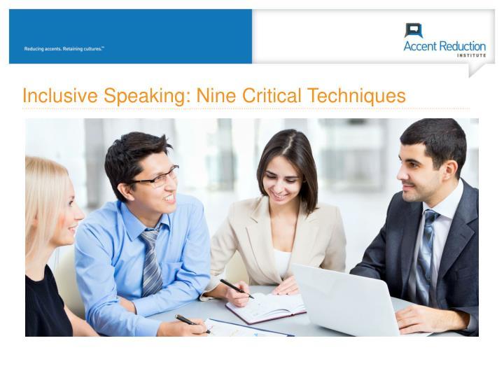 Inclusive Speaking: Nine Critical Techniques