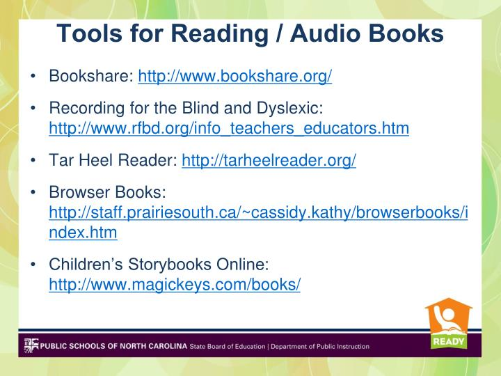 Tools for Reading / Audio Books