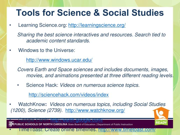Tools for Science & Social Studies