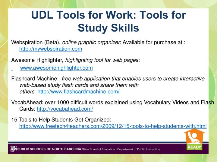 UDL Tools for Work: Tools for Study Skills
