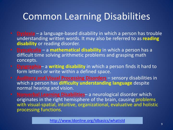Common Learning Disabilities