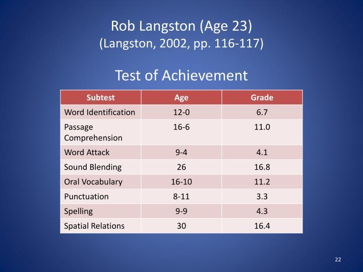 Rob Langston (Age 23)