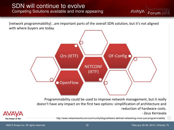 SDN will continue to evolve