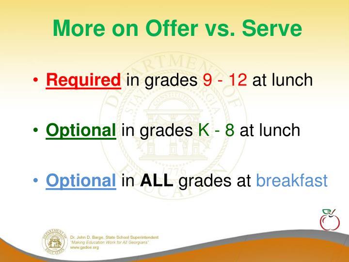 More on Offer vs. Serve