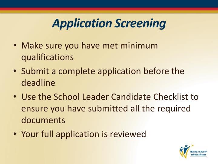 Application Screening