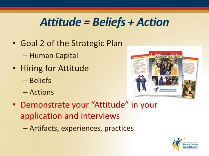 Attitude = Beliefs + Action