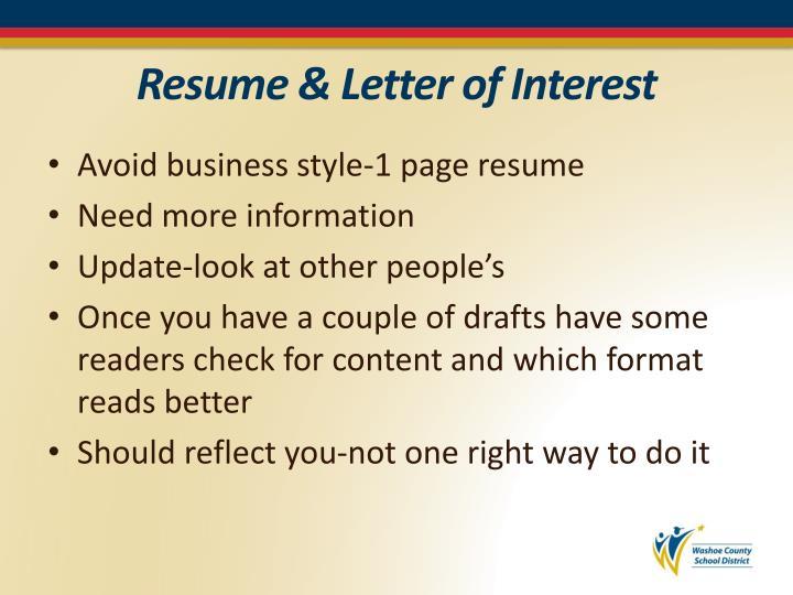 Resume & Letter of Interest