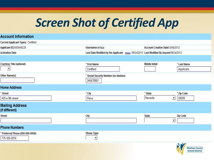 Screen Shot of Certified App