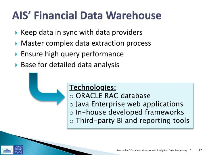 AIS' Financial Data Warehouse