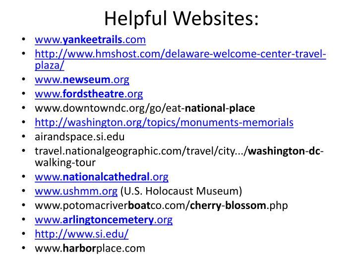 Helpful Websites: