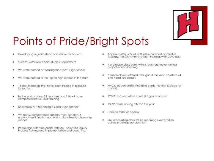 Points of Pride/Bright Spots