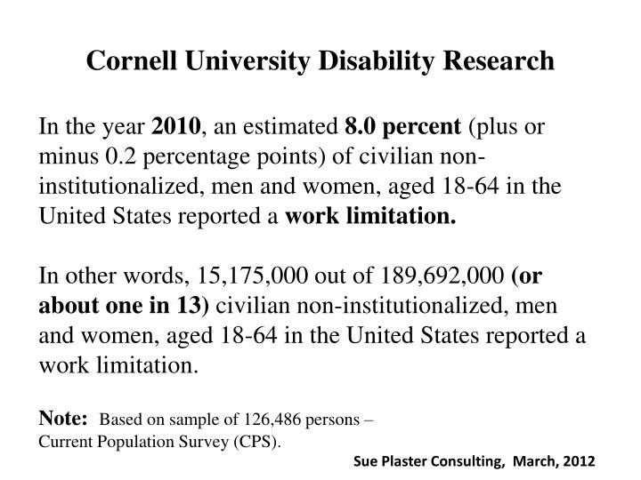 Cornell University Disability Research