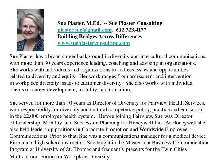 Sue Plaster, M.Ed.  -- Sue Plaster Consulting