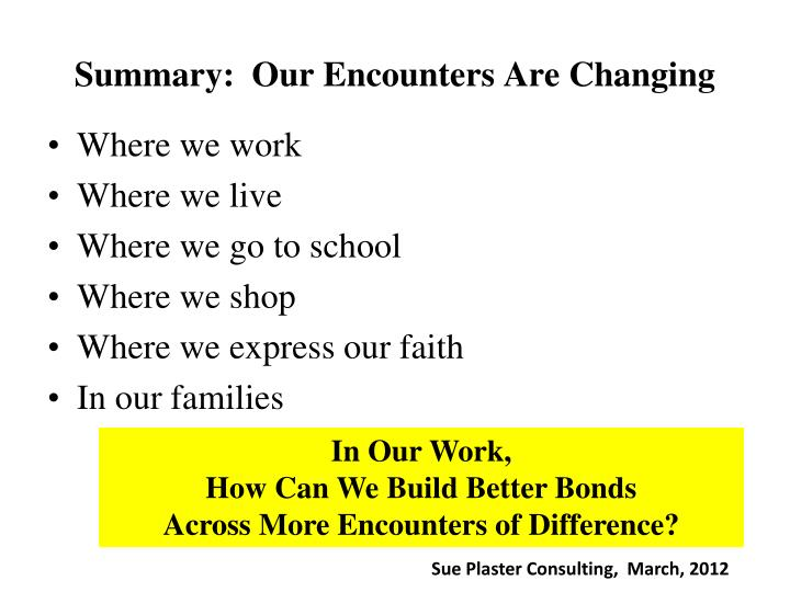 Summary:  Our Encounters Are Changing