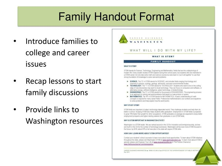 Family Handout Format