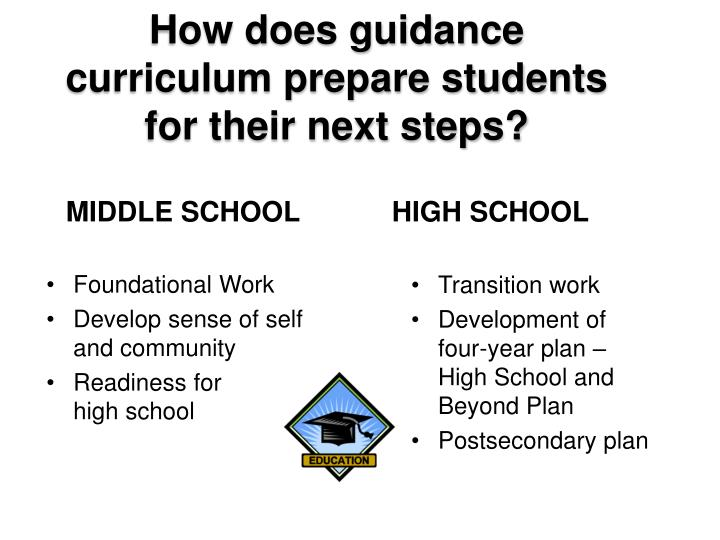 How does guidance curriculum prepare students for their next steps?