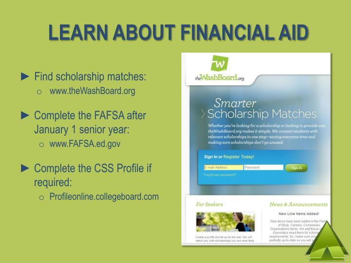 LEARN ABOUT FINANCIAL AID