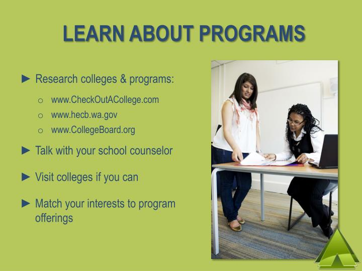 LEARN ABOUT PROGRAMS