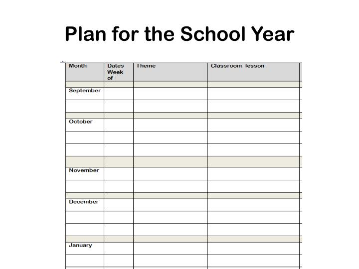 Plan for the School Year