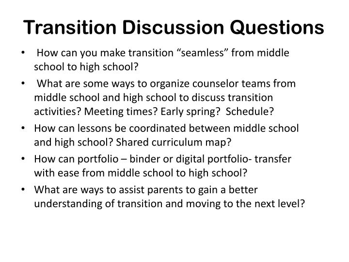 Transition Discussion Questions