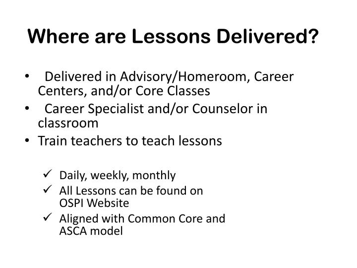 Where are Lessons Delivered?