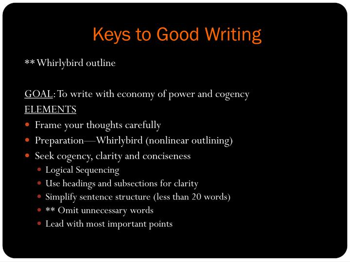 Keys to Good Writing