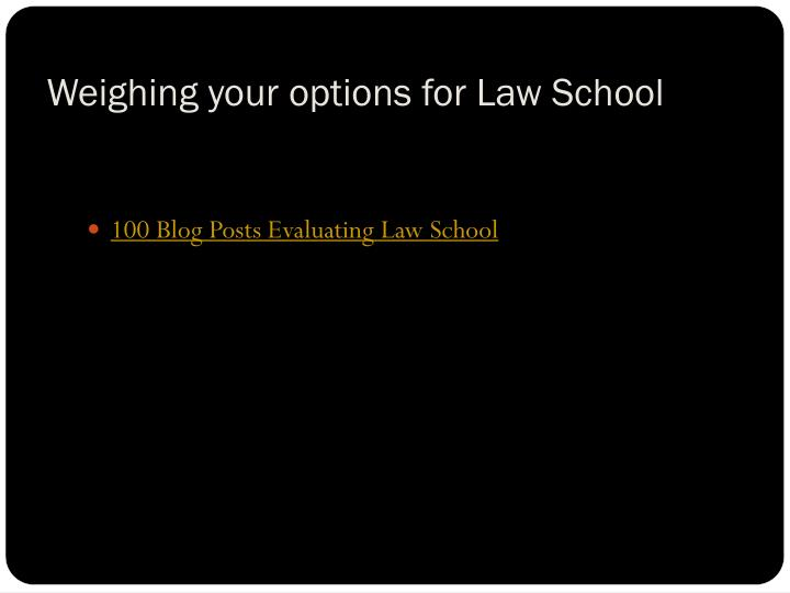 Weighing your options for Law School