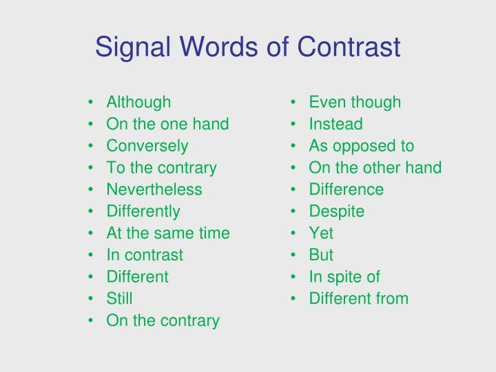 signal words Types of signal words emphasis words in writing, some ideas are central to the general thrust of the article while others are not as important there are no ideas that are universally important.