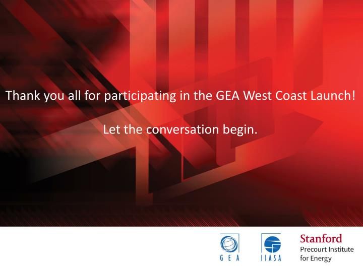 Thank you all for participating in the GEA West Coast Launch!