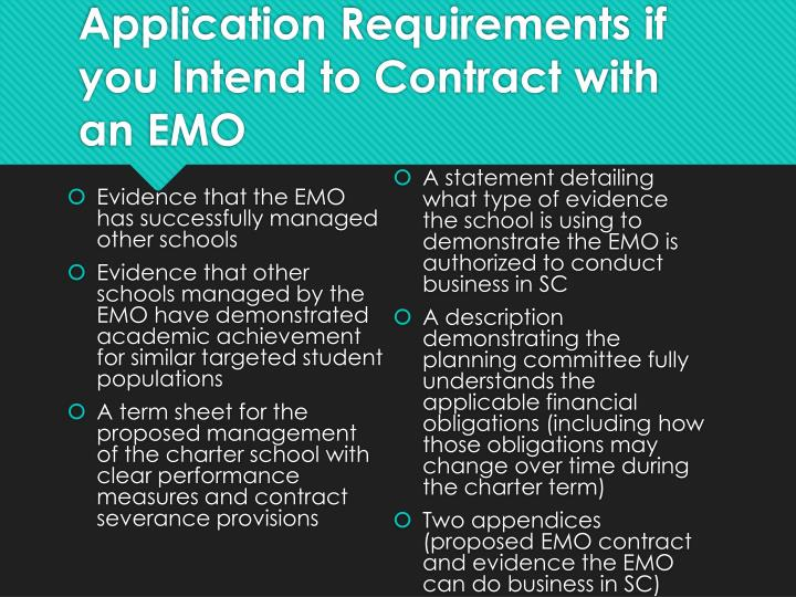 Application Requirements if you Intend to Contract with an EMO