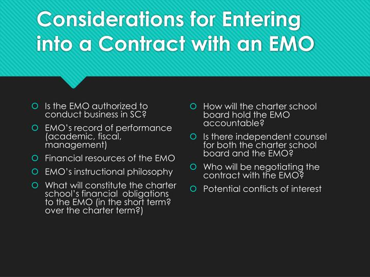 Considerations for Entering into a Contract with an EMO