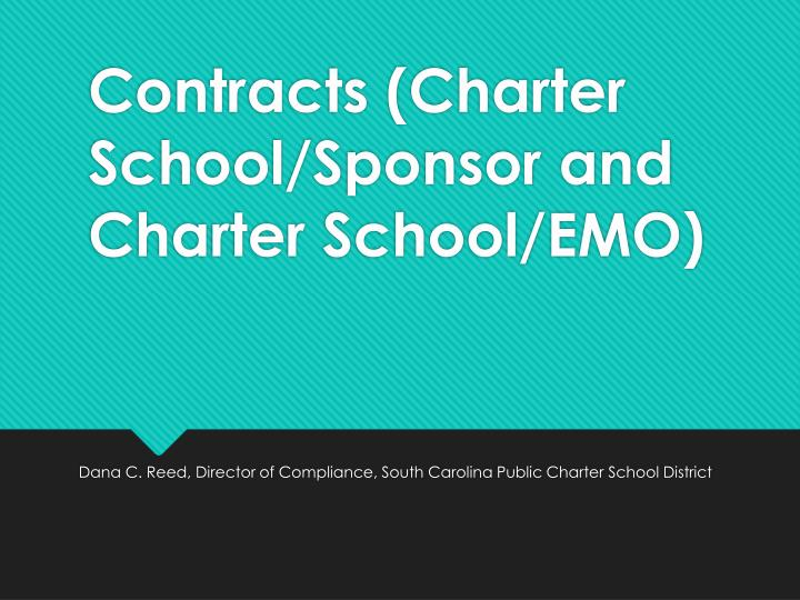 Contracts charter school sponsor and charter school emo