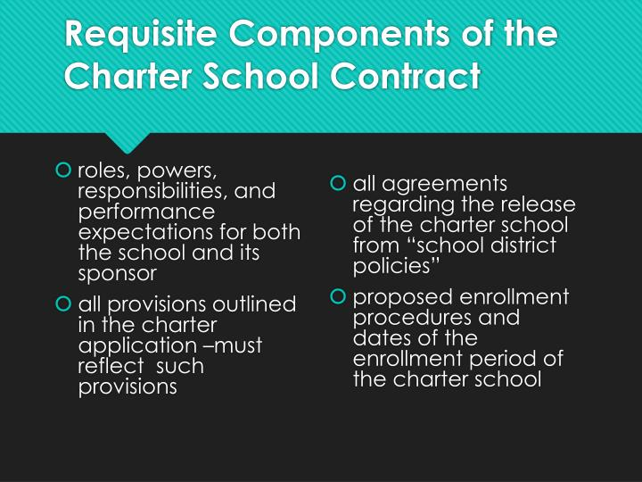 Requisite Components of the Charter School Contract