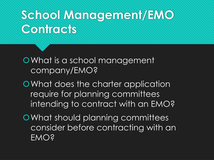 School Management/EMO Contracts