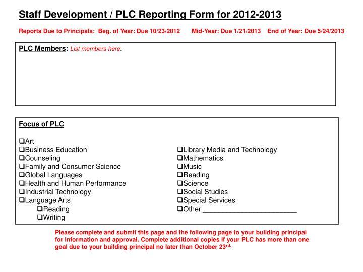 Staff Development / PLC Reporting