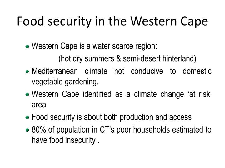 Food security in the Western Cape