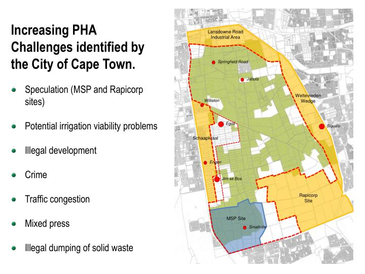 Increasing PHA Challenges identified by the City of Cape Town.