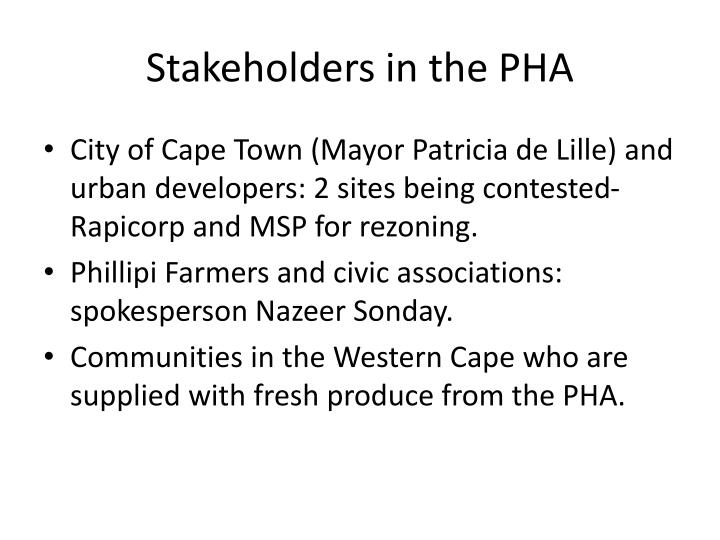 Stakeholders in the PHA