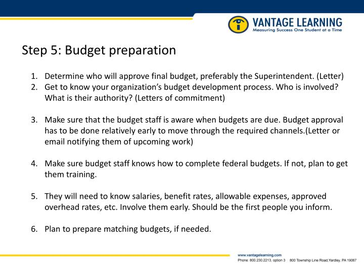 Step 5: Budget preparation