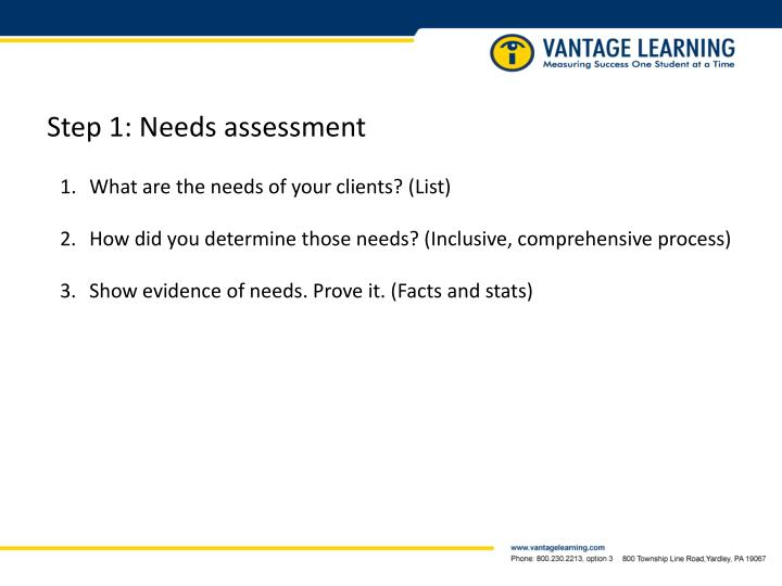 Step 1: Needs assessment