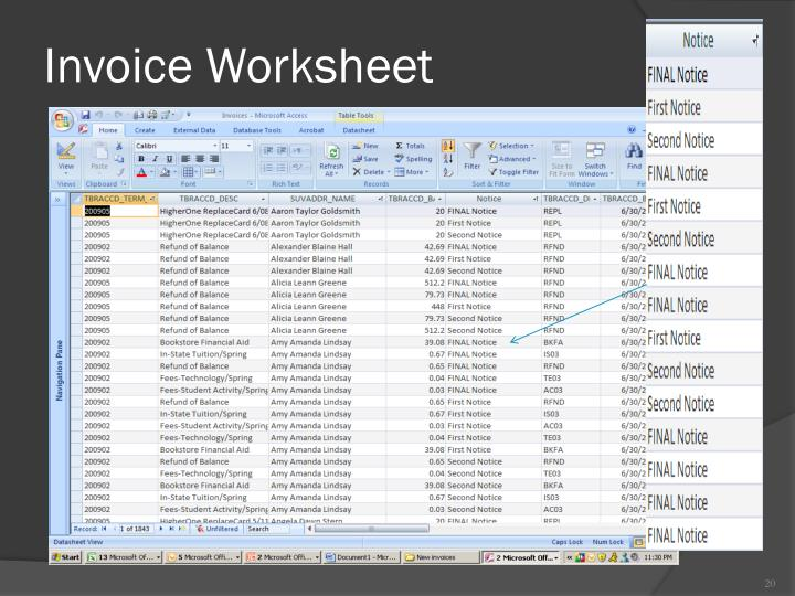Invoice Worksheet