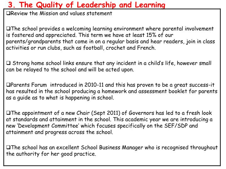 3. The Quality of Leadership and Learning