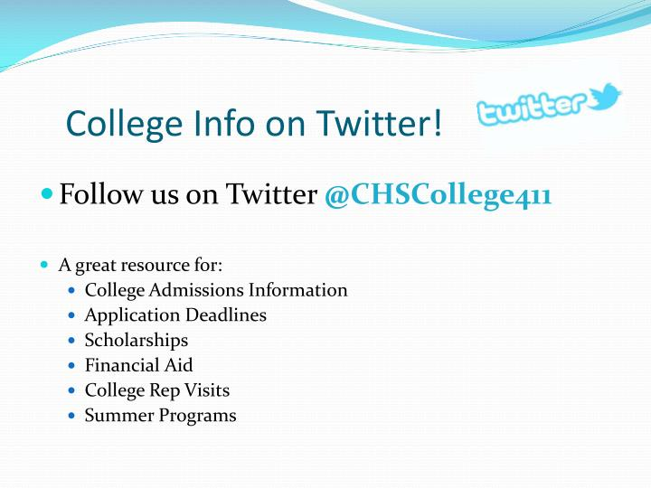 College Info on Twitter!
