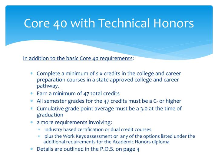 Core 40 with Technical Honors