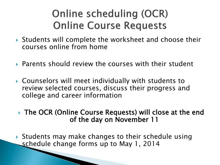 Online scheduling (OCR)