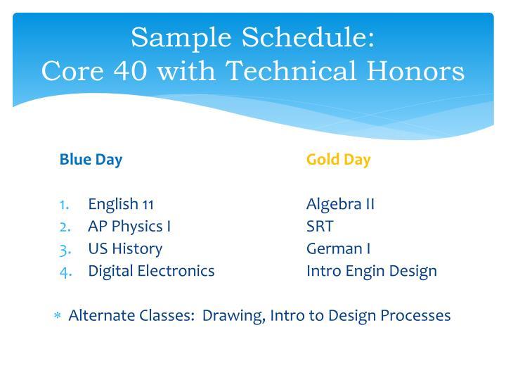 Sample Schedule: