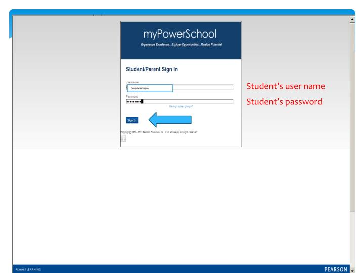 Student's user name
