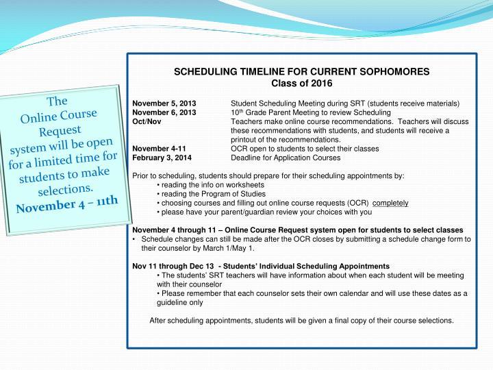 SCHEDULING TIMELINE FOR CURRENT SOPHOMORES